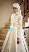 2016 Newest white arab long sleeve Gelinlik Beading Turkish Muslim hijab Wedding Dress Hot Sale Fashion