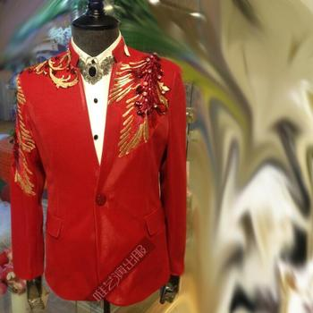 Red blue men slim sexy suits designs stage costumes for singers men sequin blazer dance clothes jacket star style dress punk
