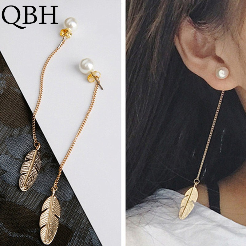 European Fashion Boucle D'oreille Leaf Feather Simulated Pearls Long Tassel Stud Earrings For Women Lady Jewelry Brincos