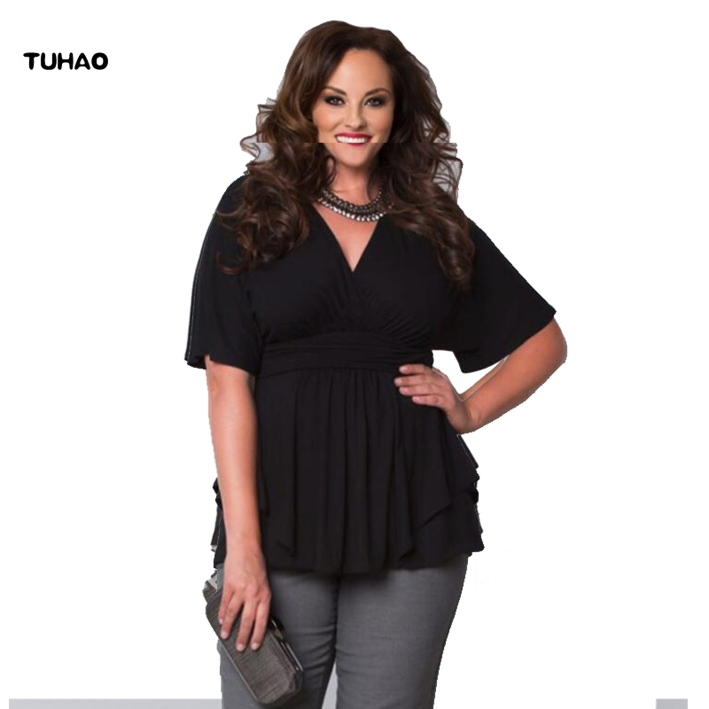 TUHAO Plus Size Office Lady   Blouses     Shirts   6XL 5XL 4XL 2018 Summer Black White Ruffles   Blouse   Work   Shirts   Female Tops LM07