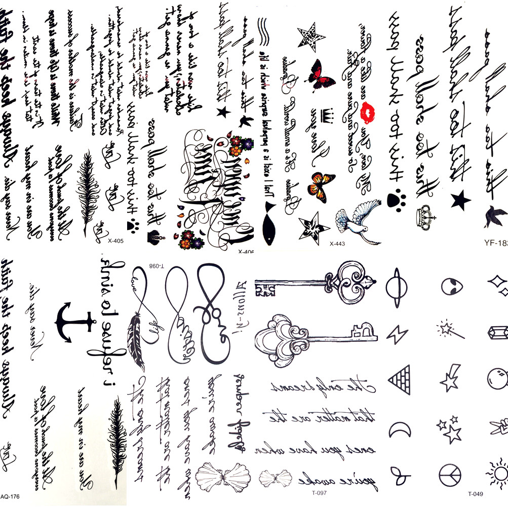 Sexy Feather Words Black Letter Temporary Tattoo Girl Finger Body Arm Art Drawings Tattoo Sticker Men Makeup Hand Tatoo Children sticker