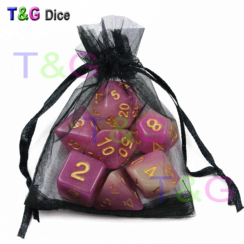 Mix-Color 7pc/Set T&G Glow in Dark Dice,Purple Color Resin Dice D4 D6 D8 D10 D10% D12 D20 with Dice Bag for RPG DND Board Game Leisure Sports & Game Room
