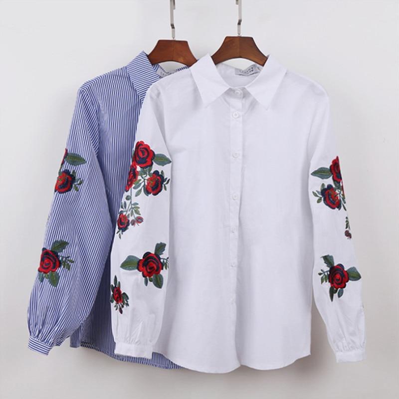 Hanyiren Mulheres Branco Bordado Floral Blusa E Tops Manga Comprida Turn Down Collar Elegante Camisa blusas mujer de moda 2019