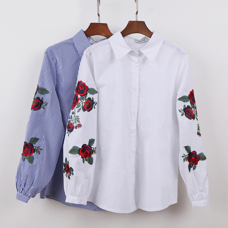 Hanyiren Women White Floral Embroidered Blouse And Tops Long Sleeve Turn Down Collar Elegant Shirt Blusas Mujer De Moda 2019