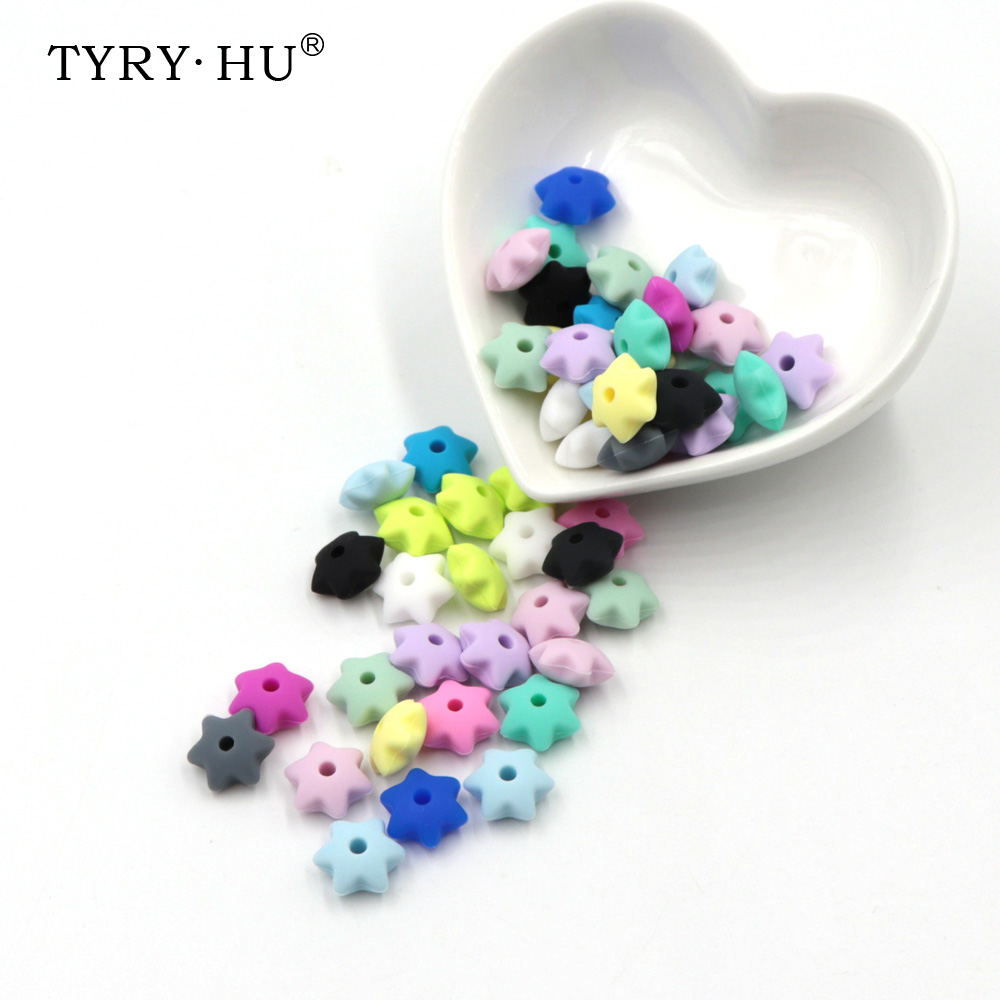 Tyry.hu 10pc Silicone Baby Teething Beads Chewable Star Silicone Teether Baby Nursing Chew Jewelry Silicone Bead 12*6mm