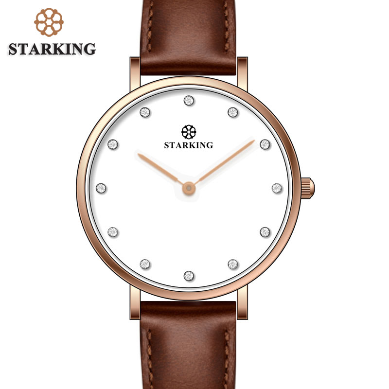 STARKING Famous Brand Luxury Quartz Women Watches Rose Gold Fashion Business Bracelet Ladies Watch Waterproof Relogio Femininos new luxury women watch famous brand silver fashion design bracelet watches ladies women wrist watches relogio femininos