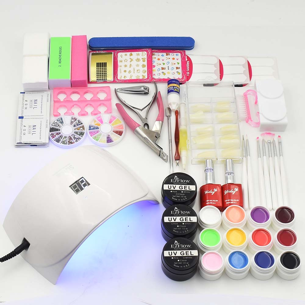 nail UV LED Lamp 12 pure Color soak off uv Gel nail base gel top coat gel nail polish kit Manicure nail art tools Sets & Kits nail art manicure tools set uv lamp 10 bottle soak off gel nail base gel top coat polish nail art manicure sets