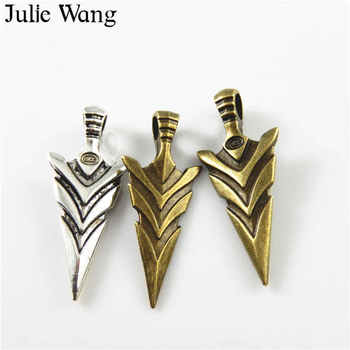 Julie Wang 3PCS Alloy Mixed Colors Spearhead Charms Pendants Bracelet Findings Jewelry Making Necklace Bracelet Accessory image