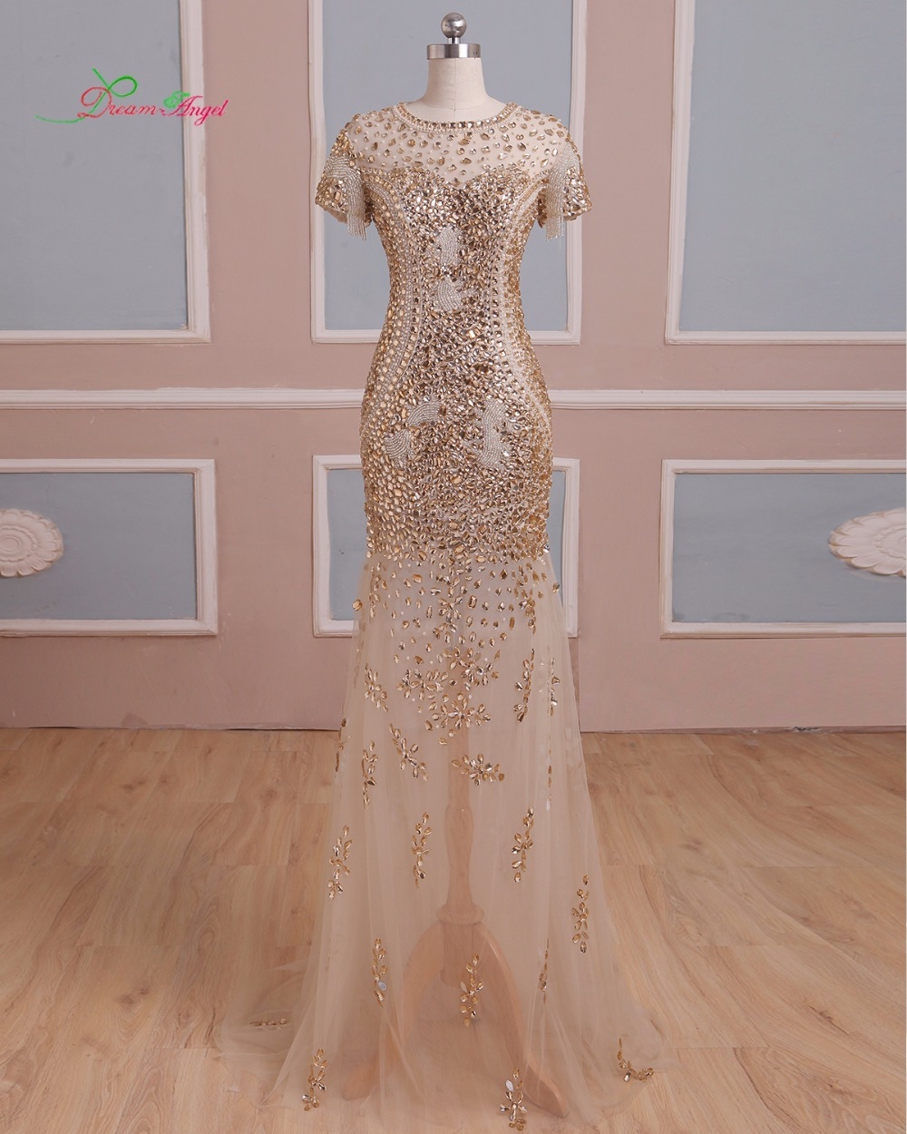 Fmogl Elegant Beading Crystal Long Mermaid   Prom     Dresses   2019 Luxury Sweep Train Vintage Trumpet Vestido De Festa Plus Size