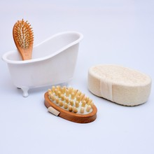4 Items/set Pet Bathtub storage box+Bath luffah brush sponge+Wood Massage Comb+Body Massage bathroom accessories bath set J1