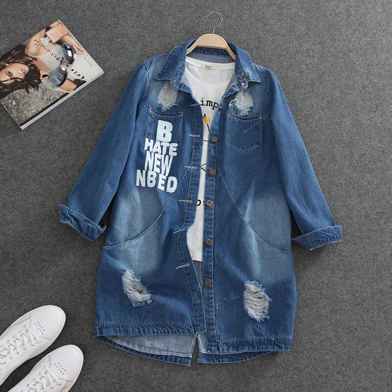 S-9XL plus size Jacket Women Casacos Feminino Slim Fashion Holes Denim Elegant Long sleeve coats Lady 2018 Basic jackets A23