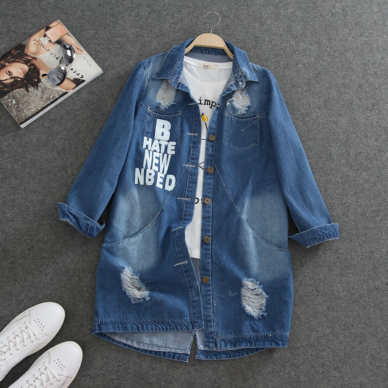 S-9XL plus size   Jacket   Women Casacos Feminino Slim Fashion Holes Denim Elegant Long sleeve coats Lady 2018   Basic     jackets   A23
