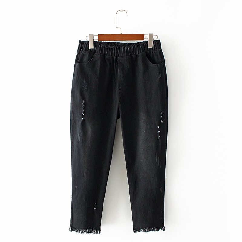 Calf length Ripped Jeans Women Denim Trousers Casual Slim Stretched Skinny Jeans Tassel Pencil Pants KKFY3570 in Jeans from Women 39 s Clothing