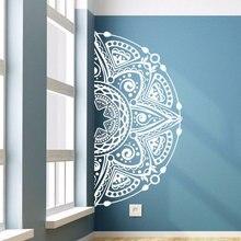 Calcomanía de vinilo para pared calcomanía de media Mandala para pared de flores, decoración para sala de estar, estilo Mandala, vinilo para pared, Mural, arte de flores MTL03