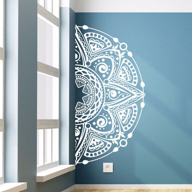 Vinyl Wall Decal Half Mandala Flower Wall Sticker Home Living Room Decor Mandala Style Wall Mural Vinyl Flower Wall Art MTL03-in Wall Stickers from Home & Garden