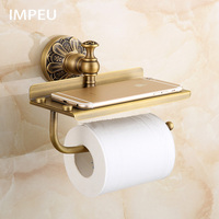 Toilet Paper Holder, Antique Bronze Toilet Roll Holder with Large Space Shelf for Phone Storage, Bathroom Tissue Holder