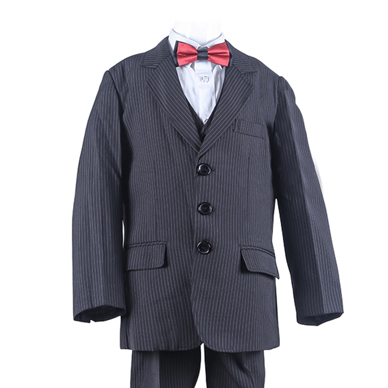 New Striped Kids Formal Suits Single Breasted Boys Casual Blazer 3 Piece Kids Wedding Clothes Boys single breasted knot blouse