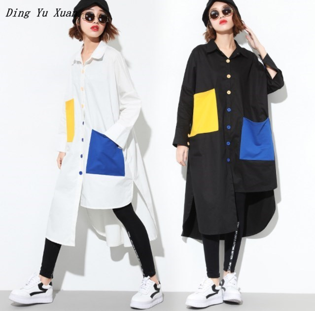 Women's Hip Hop Loose Shirt Blouse Oversized Long Top Female Irregular Button Casual Long Sleeve Vintage Tops Pocket Black White