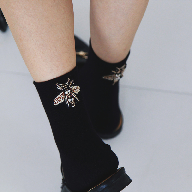 Vintage Fly Patterned Cool Harajuku Socks