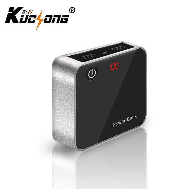 KuChong 8800 mAh Mini Carregador Banco Do Poder 18650 Bateria De Backup Externo Portátil Dual USB Espelho Cubo com Tela LCD Rápido navio