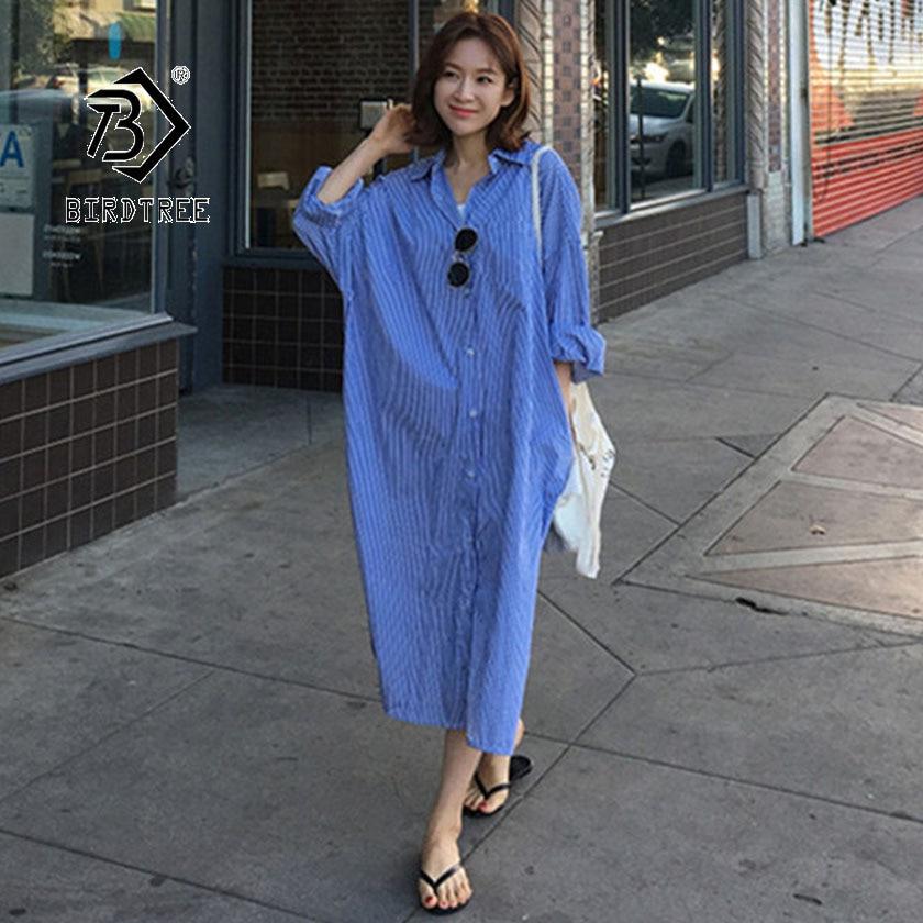 2019 шикарное летнее женское платье рубашка с воротником поло и длинным рукавом, повседневное свободное удобное платье в Корейском стиле на п