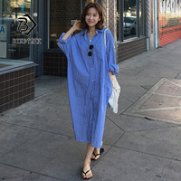 2019 Chic Summer Women's Shirt Dress Polo Collar Full Sleeve Casual Loose Cozy Korean Style Button Design Hot Sale D96707D