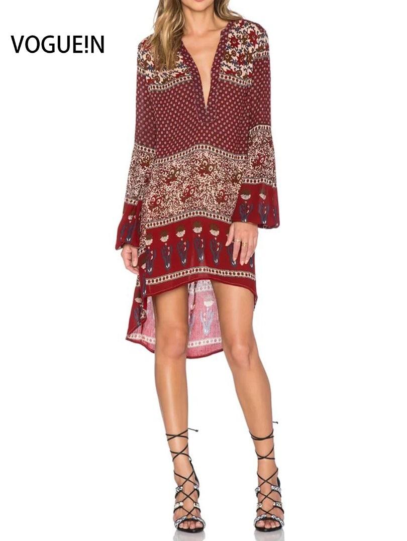 2c5eee0ce Vogue! n mujeres nuevas moda floral imprimir manga larga o-cuello mini  partido Beach shift vestido tamaño SML