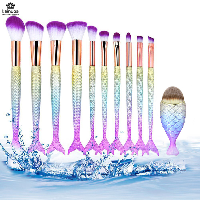 11pcs Mermaid Makeup Brushes Foundation Eyeliner Concealer Brushes Fish Tail Cosmetic brochas maquillaje Make up Brushes