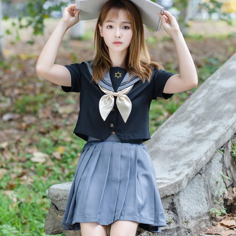 New Orthodox Uniform College Costume School Girl JK School Uniforms Short Sleeve Tops Pleated Skirt Sailors Girls Clothing S-XXL