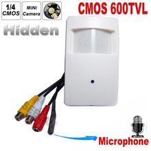CMOS Color 600TVL CCTV security Camera Motion Detector PIR STYLE Indoor CCTV Mini cmos camera PIR Surveillance Camera microphone