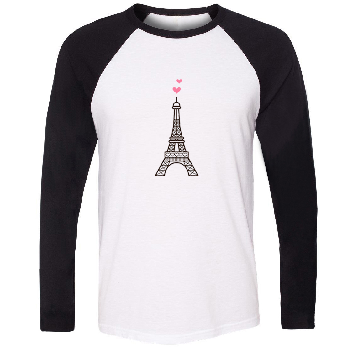 Idzn Fashion The Top Two Pink Love The Eiffel Tower Print T-shirt Fitness Raglan Long Sleeve T Shirt Men Women Christmas Gift Relieving Rheumatism T-shirts