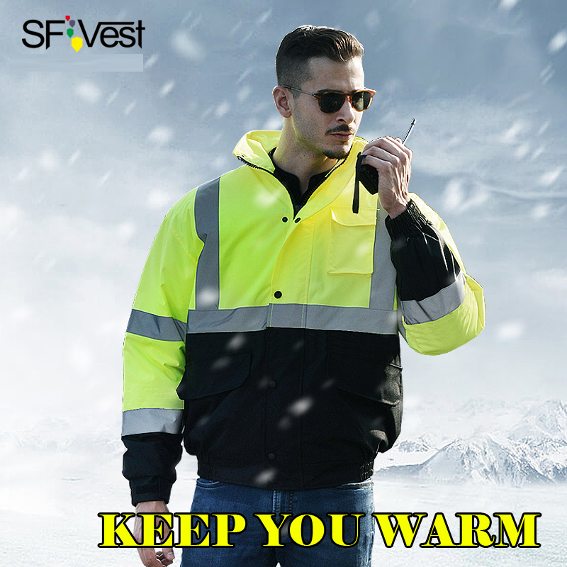 SFVest Men's reflective high visibility safety thermal winter workwear Polyesters praying bonded wadding warm winter jacket|high visibility|winter safety jackets|high visibility reflective - title=