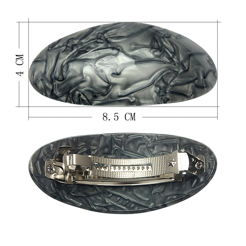 NEW 9cm Oval plastic tan brown animal print barrette hair clip womens fashion