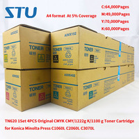 TN620 1Set 4PCS New Original CMYK CMY/1222g K/1100g Toner Cartridge for Konica Minolta Press C1060L C2060L C3070L