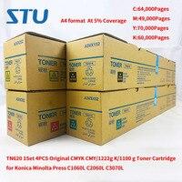 Tn620 1 conjunto 4 pçs novo original cmyk cmy/1222g k/1100g cartucho de toner para konica minolta imprensa c1060l c2060l c3070l