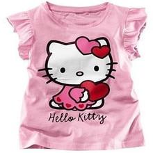 цена на Free Shipping 2014 Baby Girls Hello Kitty Short Sleeve Tshirt Children Summer Clothes Kids T-shirt