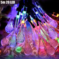 5M 20 LED Solar Light Holiday Tree Night Party Garden Water Drop Shape Lamps Decoration LED