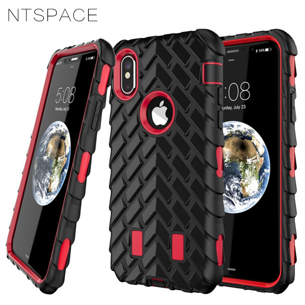 For iPhone X 5 5S SE Case Tyre Tire Tread Robot Hybrid Shockproof Armor Rubber Silicone Back Cover For iPhone 6 6S 7 8 Plus Case in Fitted Cases from Cellphones Telecommunications
