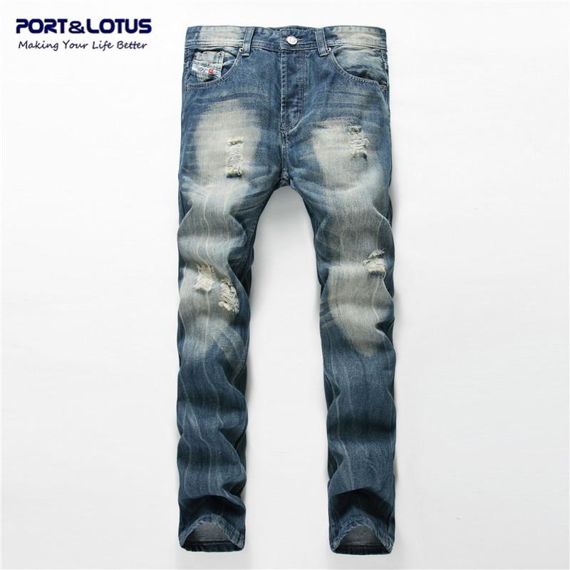 Port&Lotus Men's Button Fly Jeans Light Blue Hole Jeans Moustache Effect Biker Men Pants Casual Male TrousersTX018