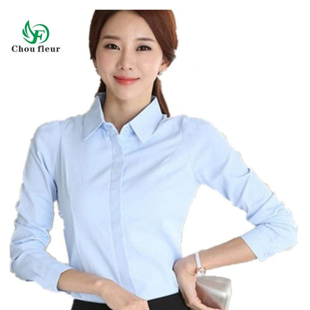 Female Korean Spring and Summer Shirt Slim Long Sleeved Cotton Professional  Shirt Large Size XXXL XXXXL b0f422021cab