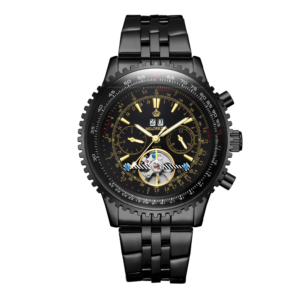 ORKINA Men s Tourbillon Mechanical Watch Large Dial Black Stainless Steel Strap Fashion Luxury Brand Men