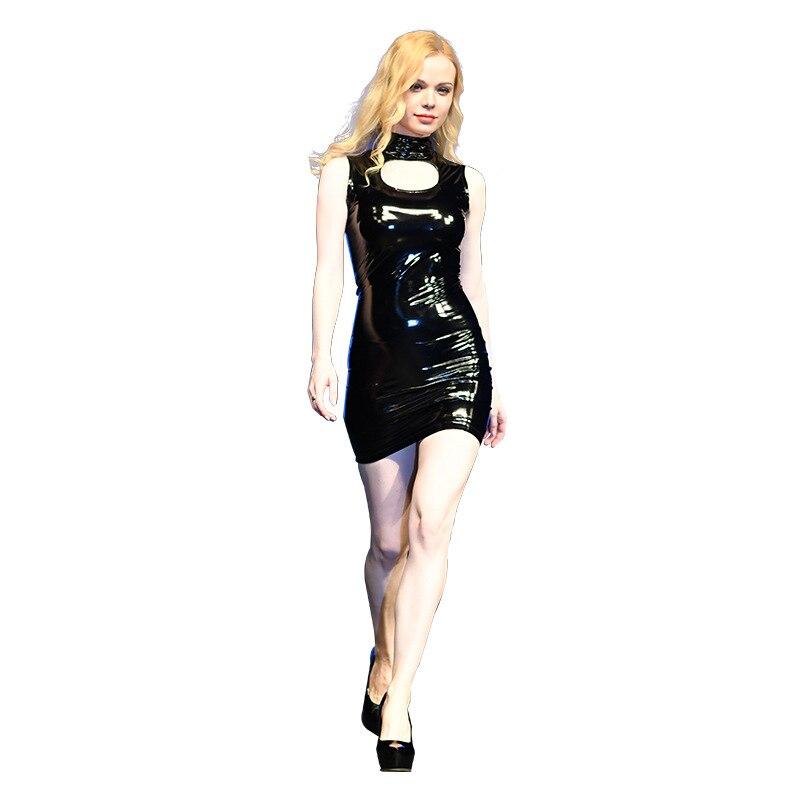 Sexy femmes PVC brillant Faux cuir Micro MINI robe évider serré robe crayon Club scène danse porter sans manches MINI robe 85