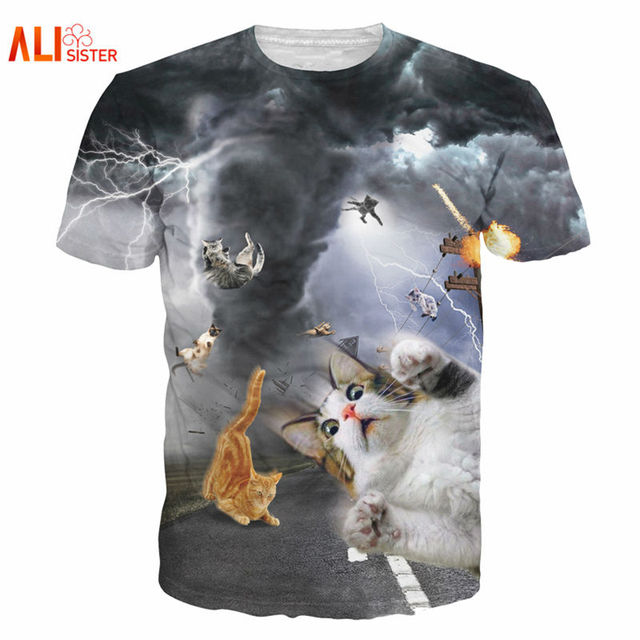 7c577cb6e Alisister New Fashion Women/men Funny Cat T Shirt Print Animal 3d T-shirt  Casual Mens Cartoon T Shirt Fighting Cat Tee Shirts