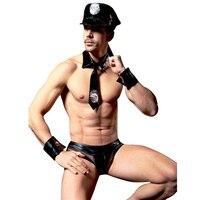 HU GH Hot Sexy Men Police Lingerie Set Black Leather Cops Costume Low Waist Fishnet Briefs