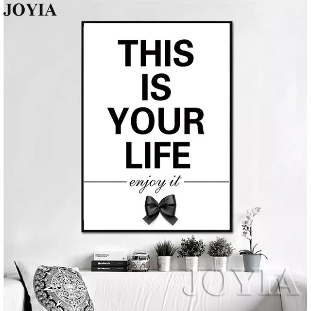 Home decor wall picture life quote painting canvas art nordic black white posters prints for living