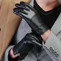 2015 men new arrived high quality fashion autumn winter warm Italian nappa mesh leather touch screen driving ride gloves mittens