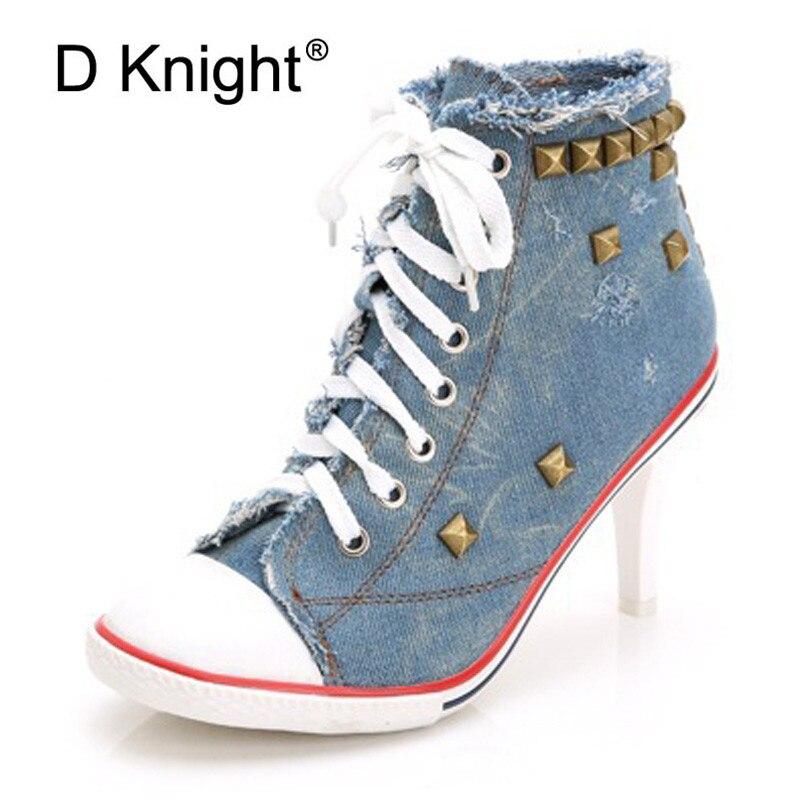 2018 haut toile chaussures 8.5 cm talon bottines à lacets haut talon chaussures Femme décontractées Rivet Demin Chaussure Femme