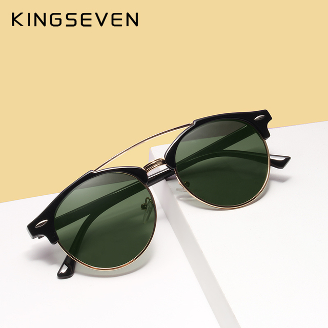 a364be67bb3e85 KINGSEVEN 2017 Rétro Rivet Classique De Luxe Marque Cadre Miroir Rond  lunettes de Soleil Femmes Hommes