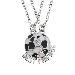 Trendy BEST FRIENDS Necklace Football Friendship Pendant Two Parts Splicing Enamel Soccer Necklaces Women Men Gift Dropshipping