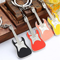 Stainless steel color personality music key chain Guitar key ring custom logo company souvenirs